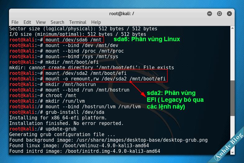 Sửa lỗi mất Grub2 khi cài song song Kali Linux và Windows