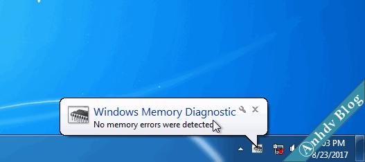 Kết quả kiểm tra lỗi RAM với Windows Memory