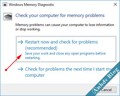 Kiểm tra lỗi RAM với Windows Memory Diagnostic