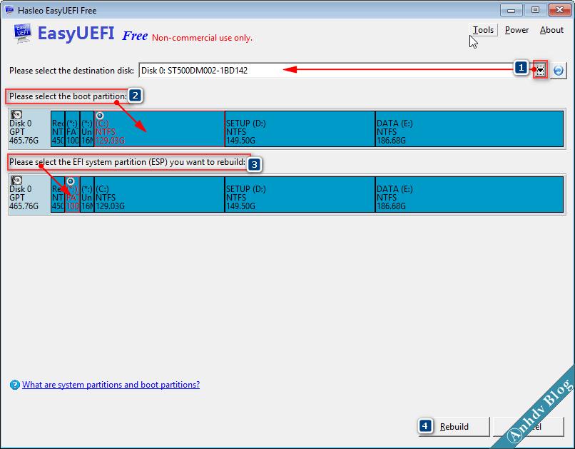 Sửa lỗi phân vùng EFI với EasyUEFI