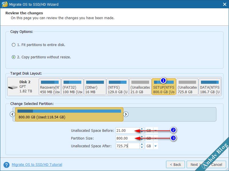 Thay đổi kích thước phân vùng khi chuyển Windows bằng Partition Wizard 1