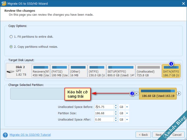 Thay đổi kích thước phân vùng khi chuyển Windows bằng Partition Wizard 2