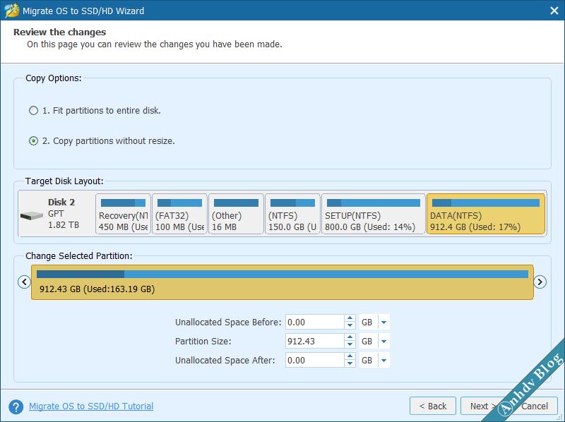 Thay đổi kích thước phân vùng khi chuyển Windows bằng Partition Wizard 3
