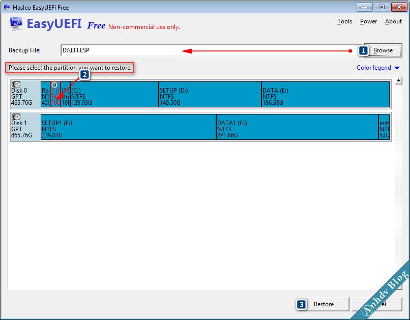 Khôi phục phân vùng EFI với EasyUEFI