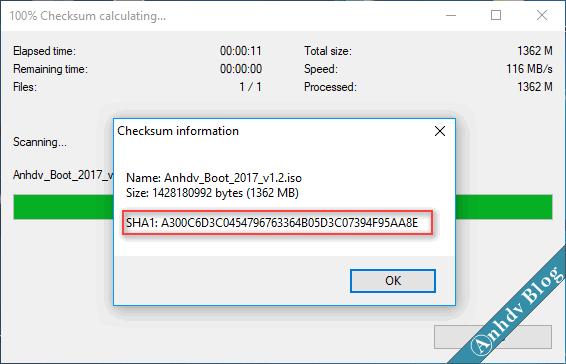 Kết quả kiểm tra mã SHA-1 bằng 7 zip