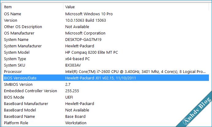 Xem thông tin phiên bản BIOS máy tính