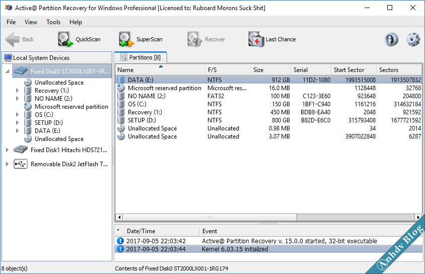 Phần mềm khôi phục dữ liệu Active Partition Reocvery