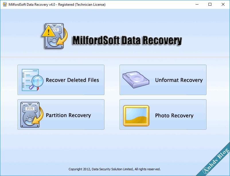 Phần mềm khôi phục dữ liệu MilfordSoft