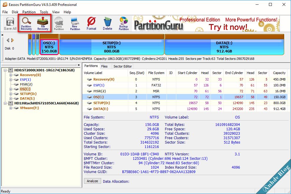 Phần mềm khôi phục dữ liệu Partition Guru