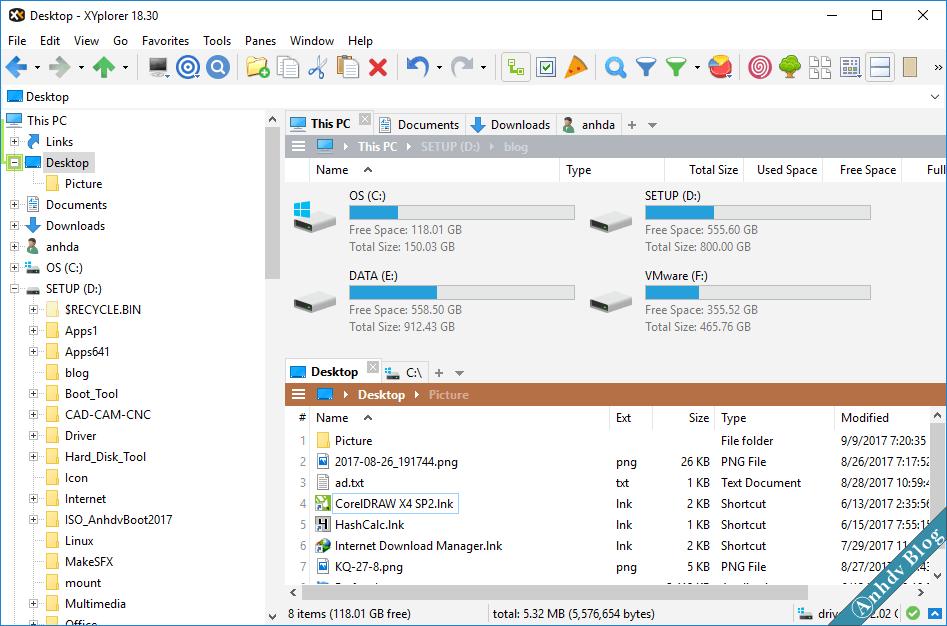 Phần mềm quản lý file XYplorer, duyệt file theo nhiều Tab