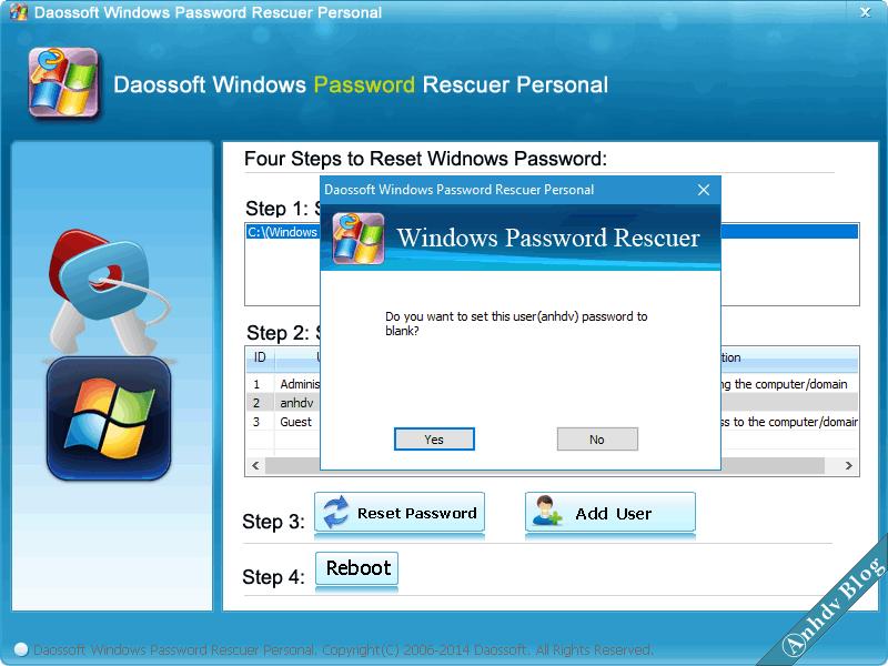 Reset mật khẩu Windows với Daossoft 2