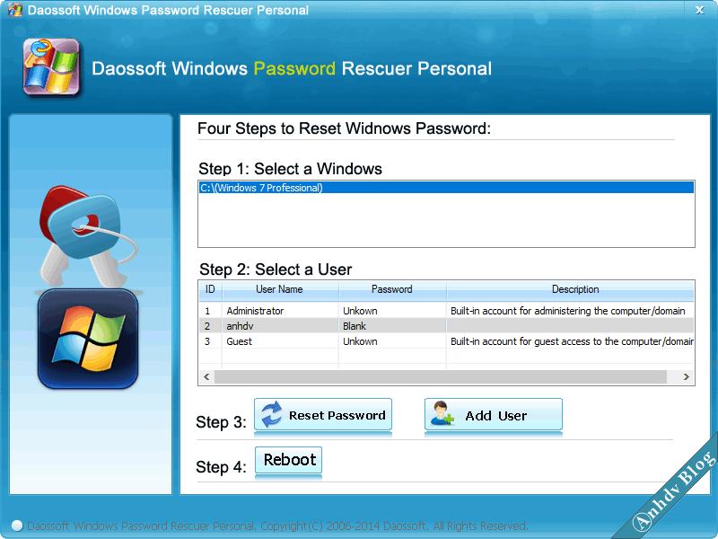 Reset mật khẩu Windows với Daossoft 3
