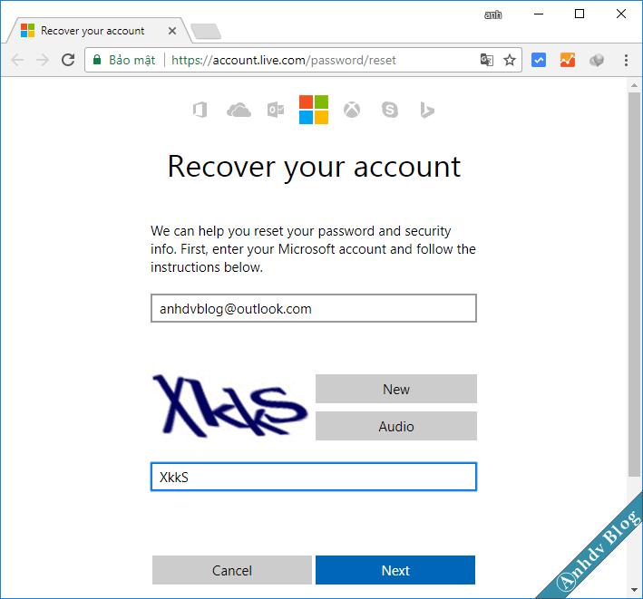 Reset mật khẩu Windows của tài khoản Live Microsoft