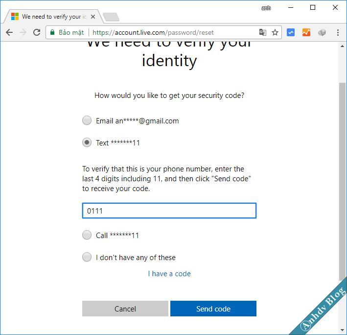 Reset mật khẩu Windows cho tài khoản Live Microsoft 3