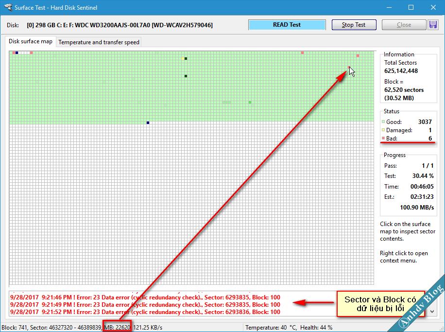 Tìm vị trí cắt bad sector với HDSentinel