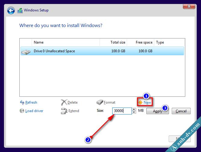 Phân chia ổ cứng mới mua, máy tính mới với Windows Setup 1