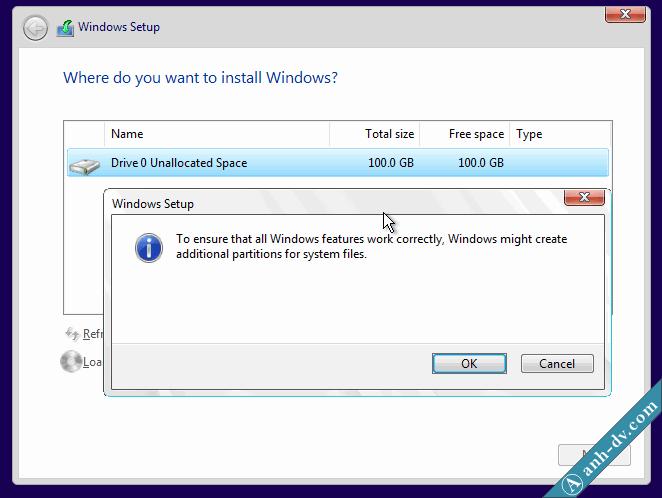 Phân chia ổ cứng mới mua, máy tính mới với Windows Setup 2