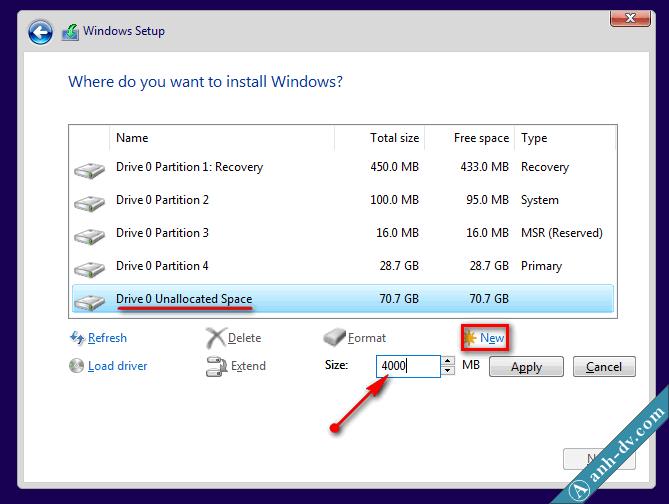 Phân chia ổ cứng mới mua, máy tính mới với Windows Setup 3