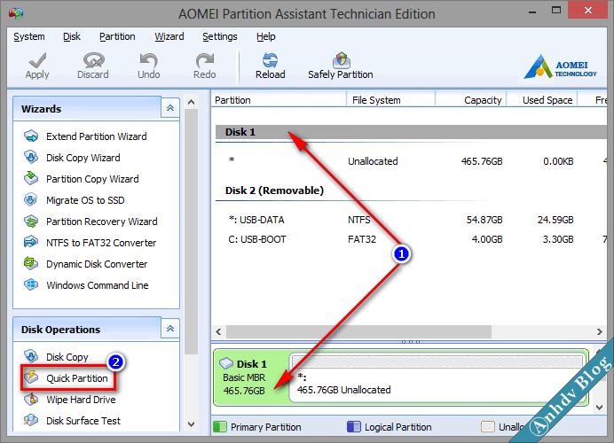 Phân chia phân vùng ổ cứng mới với Aomei 1