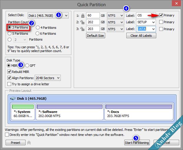 Phân chia phân vùng ổ cứng mới với Aomei 2