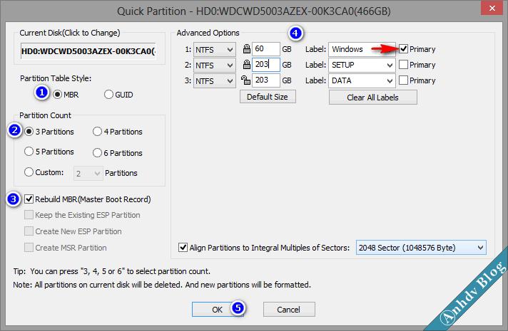 Phân chia phân vùng ổ cứng mới MBR với Partition Guru