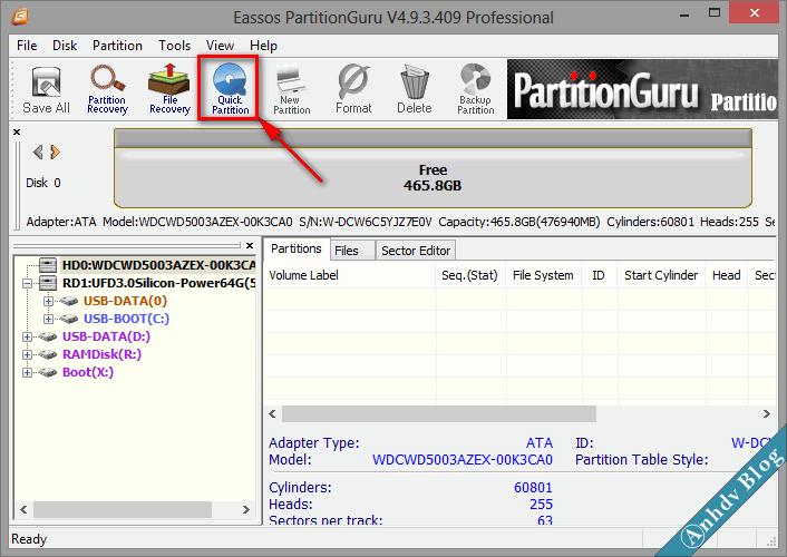 Phân chia phân vùng ổ cứng mới với Partition Guru