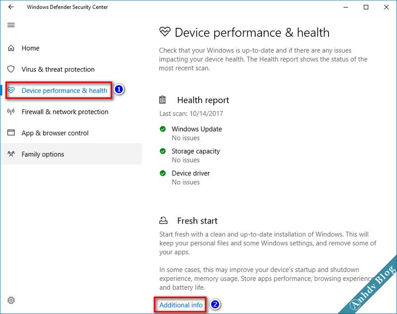 Tính năng Fresh Start trên Windows 10