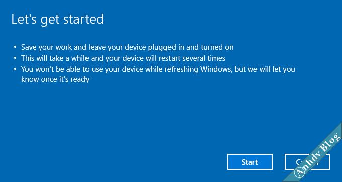 Sử dụng Fresh Start trên Windows 10 6