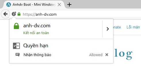 Tùy chỉnh nhận thông báo bài viết mới từ anh-dv.com với FireFox