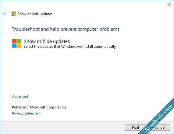 Phần mềm Show or Hide Update giúp ngăn chặn windows udpate 1