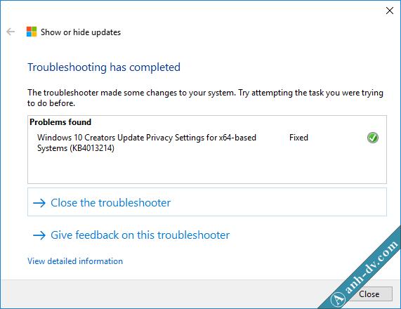 Đã chặn windows 10 cập nhật lên phiên bản mới Creator 1703 thành công