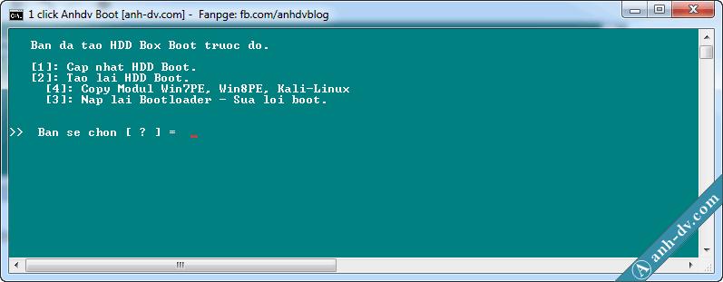 Sửa lỗi HDD Boot với 1 click Anhdv Boot