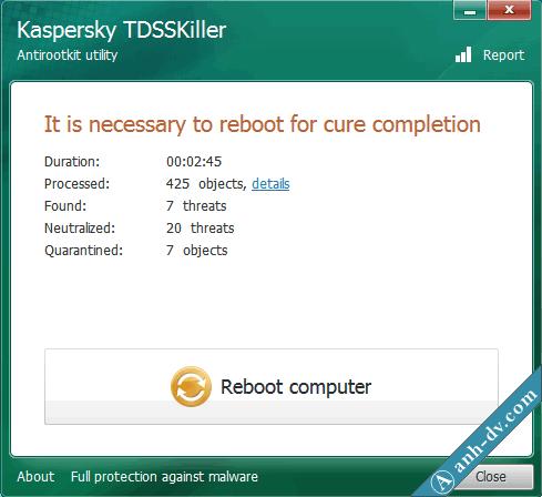 Hoàn tất sửa lỗi tự xóa Unikey với TDSSKiller