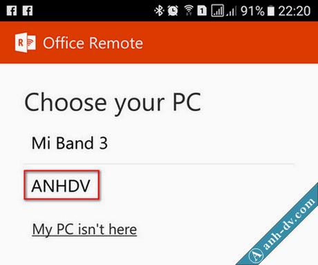 điều khiển trình chiếu slide powerpoint bằng điện thoại với Office Remote 5