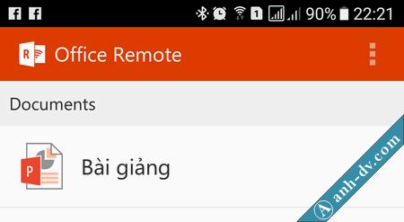 điều khiển trình chiếu slide powerpoint bằng điện thoại với Office Remote 7