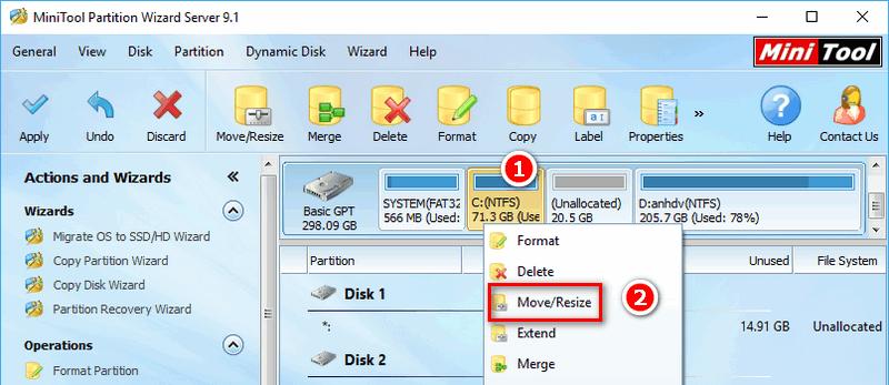 Cách tăng dung lượng ổ đĩa C bị đầy không mất dữ liệu với Partition Wizard 4