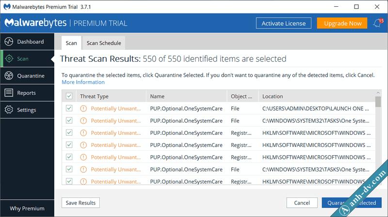 Gỡ bỏ malware, virus quảng cáo với Malwarebytes 2