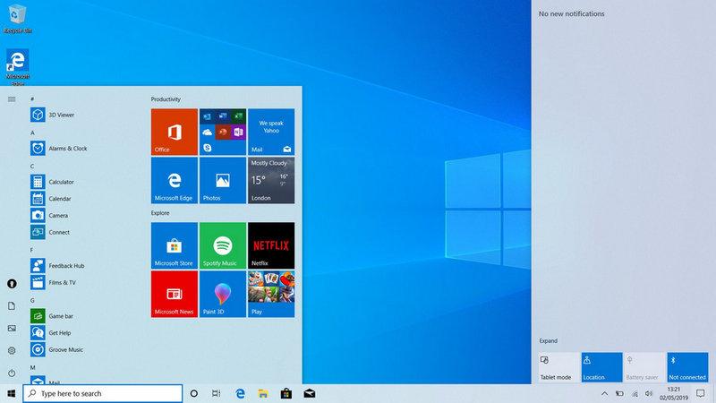 Windows 10 Version 1903 giao diện Light 1