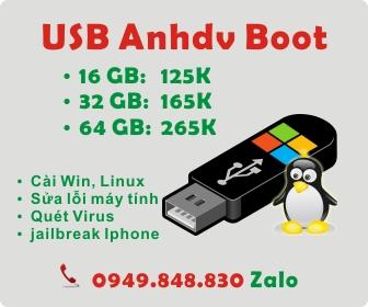 USB tích hợp sẵn Anhdv Boot, bộ cài Windows và phần mềm cần thết
