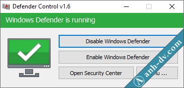 Cách tắt Windows Defender vĩnh viễn với Defender Control