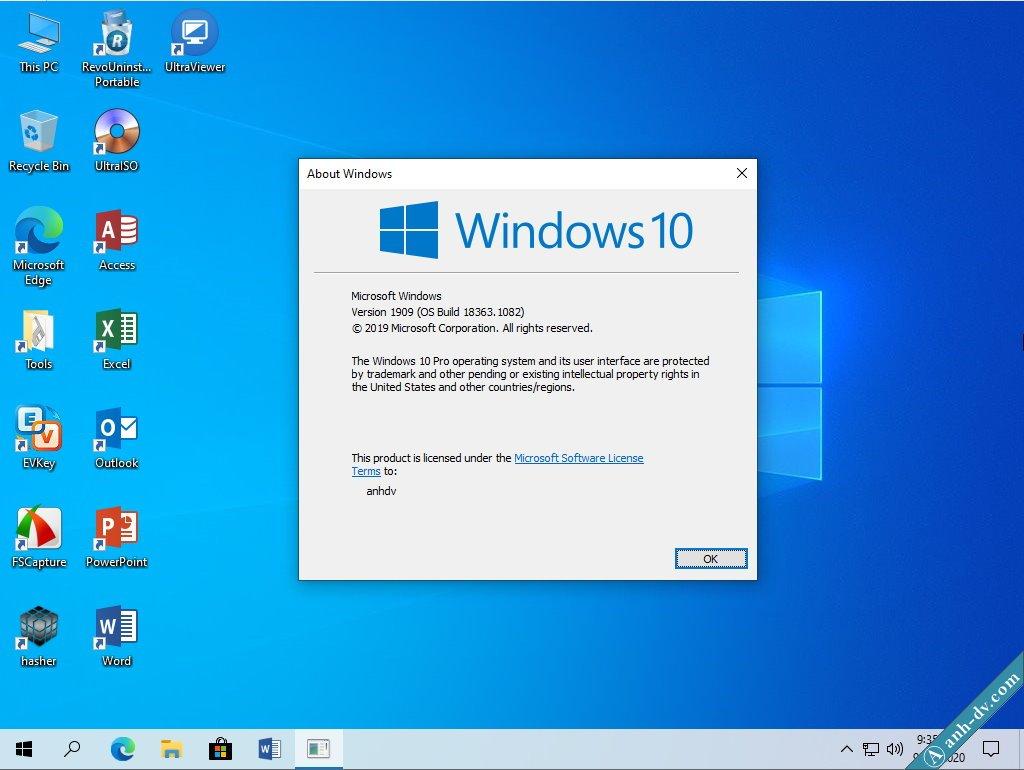 Windows 10 Pro 1909 ISO 2 in 1 V2 Desktop